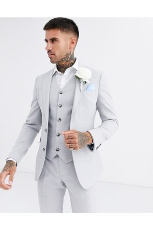 ASOS Wedding super skinny suit jacket in ice micro texture