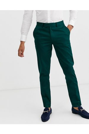 ASOS Wedding skinny suit trousers in cotton in forest