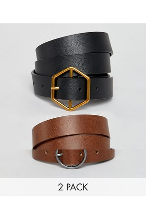 ASOS 2 pack hexagon and circle buckle waist and hip belts