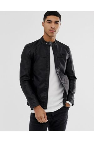 Only & Sons Faux leather racer jacket in
