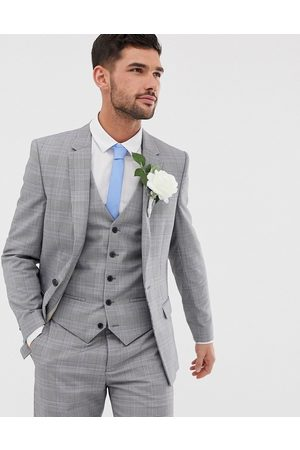 River Island Wedding slim suit jacket in check