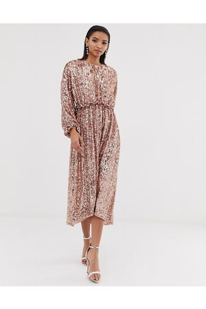 ASOS Open back waisted midi dress in sequin
