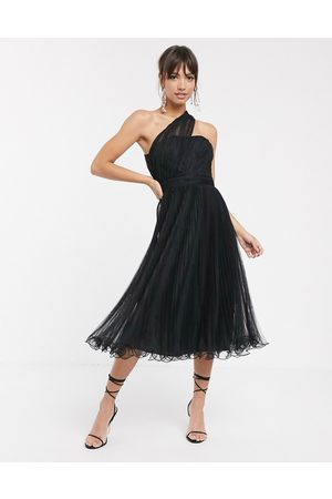 ASOS One shoulder tulle wired hem midi dress