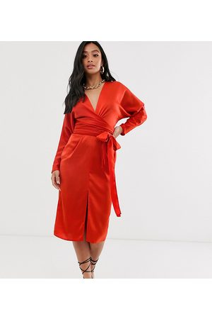 ASOS ASOS DESIGN Petite midi dress with batwing sleeve and wrap waist in satin