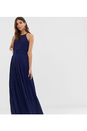 TFNC Bridesmaid exclusive high neck pleated maxi dress in