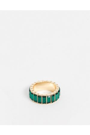 ASOS Ring with green baguette crystal stones in tone