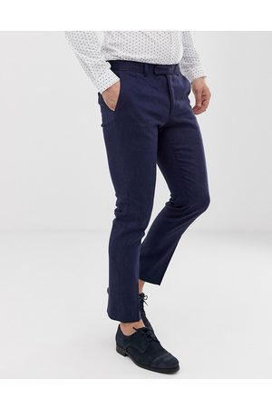 Moss Bros Men Skinny Pants - Moss London slim suit trouser in navy linen with stretch