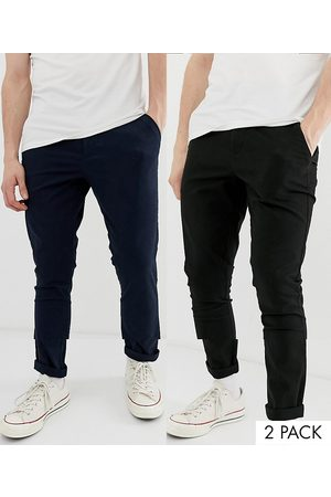 ASOS 2 pack super skinny chinos in black & navy save