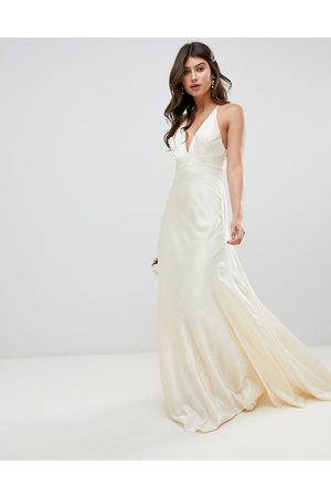 ASOS Satin panelled wedding dress with fishtail