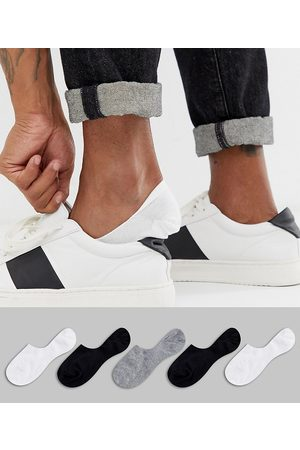 ASOS 5 pack invisible liner sock in monochrome save-Multi