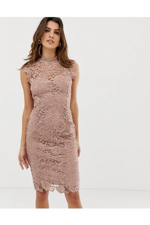 Paper Dolls High neck lace midi dress in taupe