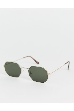 ASOS Metal angled sunglasses in with smoke lens