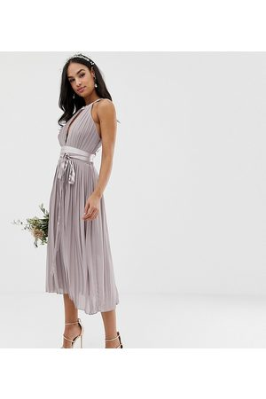 TFNC Pleated midi bridesmaid dress with cross back and bow detail in