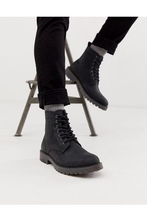 ASOS Lace up boots in leather with chunky sole