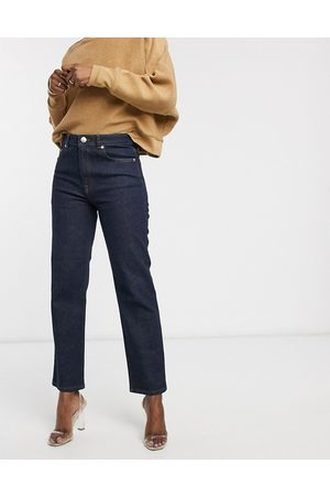 ASOS High rise stretch 'slim' straight leg jeans in rinse wash