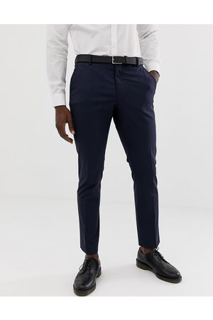 SELECTED Slim fit stretch suit trousers in navy