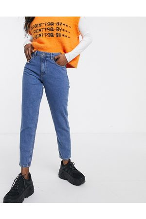 Noisy May Ankle grazer mom jean with contrast stitch