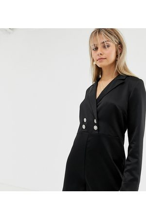 Reclaimed Vintage Inspired tux playsuit with vintage button detail