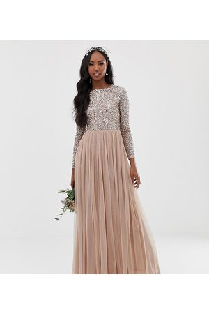 Maya Bridesmaid long sleeve maxi tulle dress with tonal delicate sequins in taupe blush