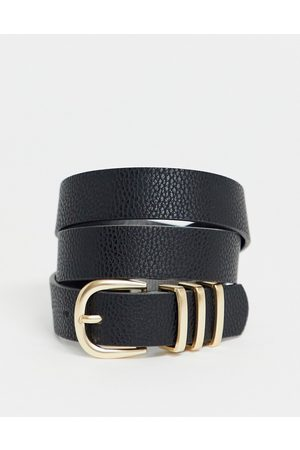 Pieces Gold buckle belt in black