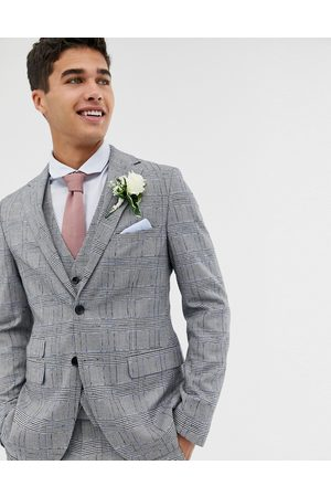 Moss Bros Moss London skinny suit jacket with check boucle