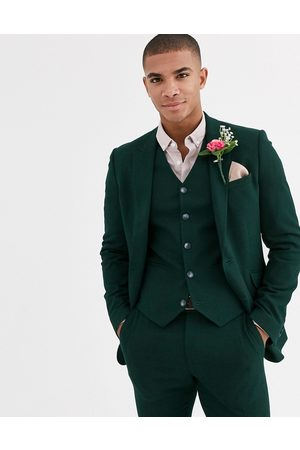 ASOS Wedding super skinny suit jacket in forest micro texture