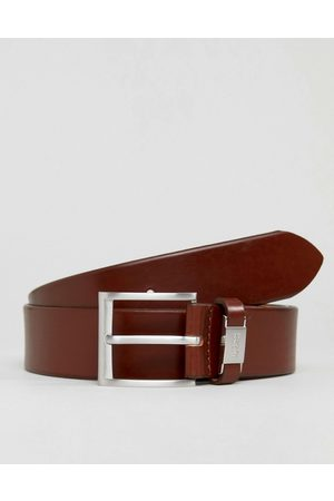 HUGO BOSS Connio leather logo keeper belt in tan