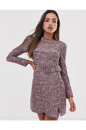 Fashion Union Women Bodycon Dresses - Structured bodycon dress in abstract print with belt detail