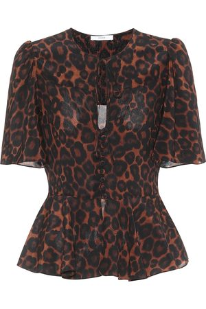 Erdem Laliya leopard-print silk top