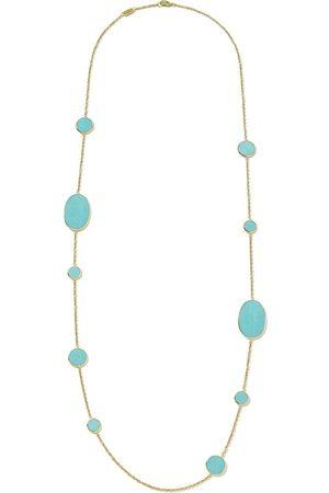 Ippolita 18kt yellow Polished Rock Candy Multi Shape turquoise station necklace