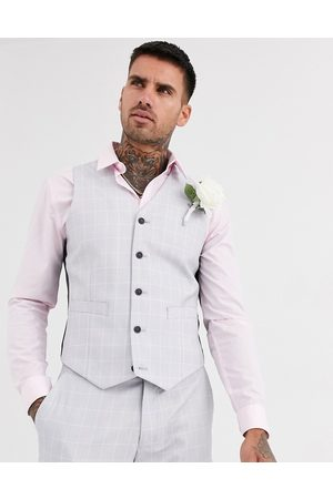 ASOS Wedding slim suit waistcoat in windowpane check in ice