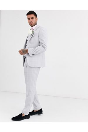 ASOS Wedding slim suit trousers in windowpane check in ice