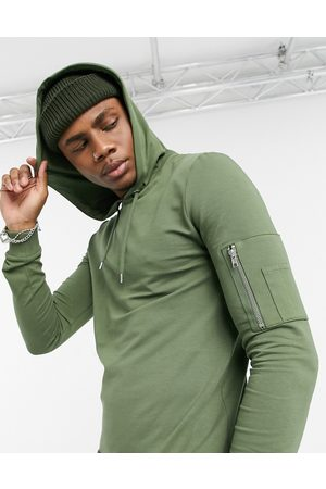 ASOS Muscle hoodie with MA1 pocket in khaki