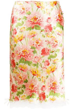 Dior 2003 pre-owned floral silk skirt