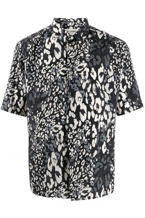 Saint Laurent Leopard print short-sleeved shirt