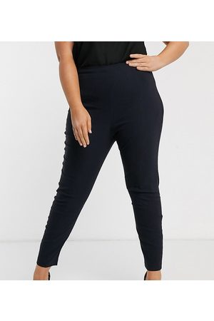 ASOS Curve ASOS DESIGN Curve high waist trousers in skinny fit-Navy