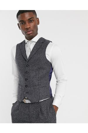 ASOS Men Suits - Slim suit waistcoast in blue and 100% lambswool tweed