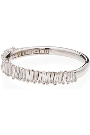 Suzanne Kalan 18kt white gold baguette diamond ring