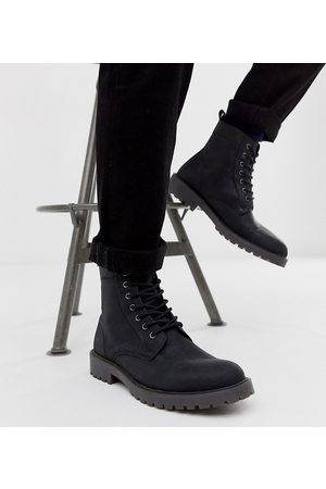 ASOS Wide Fit lace up boots in leather with chunky sole