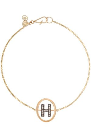 ANNOUSHKA 18kt yellow gold diamond initial H bracelet