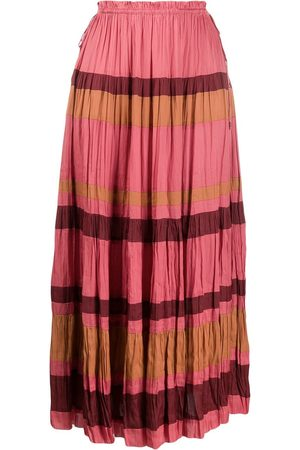 ULLA JOHNSON Striped pleated midi skirt