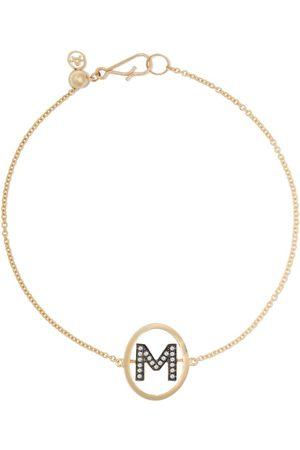 ANNOUSHKA 18kt yellow gold diamond initial M bracelet
