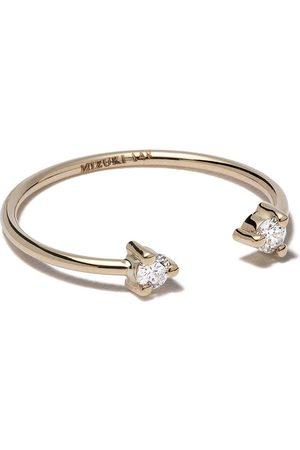 Mizuki 14kt yellow two diamonds open ring