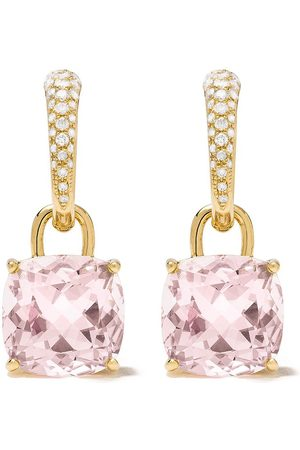 Kiki Mcdonough 18kt Kiki Classics cushion cut morganite and diamond detachable tapered hoop earrings