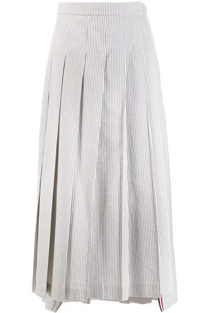 Thom Browne Seersucker long pleated skirt