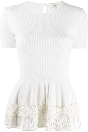 Alexander McQueen Rib-knit ruffled top