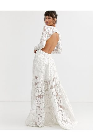 ASOS Wedding dress with open back and floral embroidery
