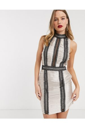 ASOS Satin ruched mini dress with lace and chain trim