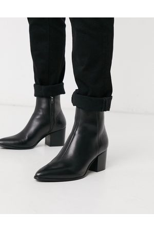 ASOS Heeled chelsea boots with pointed toe in leather with sole
