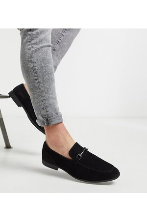 ASOS Men Loafers - Wide Fit loafers in faux suede with snaffle